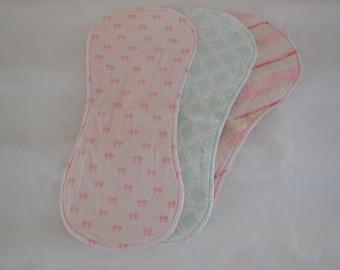 Handmade burp cloths, 3-piece burp cloth set, Pink burp cloths, Green burp cloths