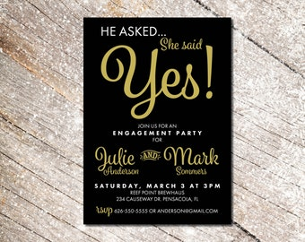 Engagement Invitation | Elegant Engagement Party | Gold and Black Invite | He asked, She said Yes | Drunk in Love | Vintage Inspired Invite