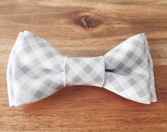 Grey Gingham Bow Tie - Toddler