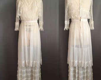 Rare Edwardian Net & Lace Tea Dress