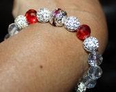 Cute shiny, Crystal, Czech Crystal disco-ball rhinestone-beaded handmade bracelet; shamballa, red & white
