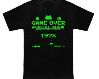 Space Invaders GAME OVER 1978 Arcade Geek T-Shirt Funny Parody Video Game Nerd Pop Culture Shirt
