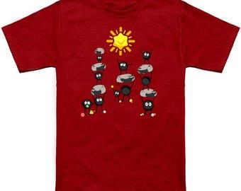 CANDY SUN Howls Moving Castle Sootballs Calcifer Geek T-Shirt Nerd Anime Shirt Studio Ghibli Hayao Miyazaki