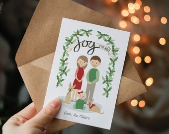 Custom Illustrated Drawings - Family Portrait - Christmas Card Special - Printable - Personalized Picture - Keepsake Couple Drawing