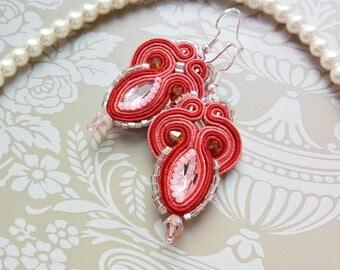 Coral earrings Soutache earrings Red earrings Pink earrings Pink crystals earrings Embroidery earrings Soutache jewelry Shimmering earrings