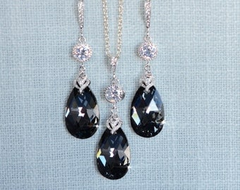 Handmade Swarovski Silver Night Crystal Necklace & Earrings Set (Sparkle-2695)