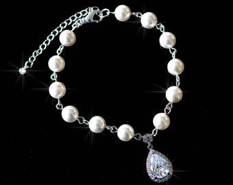 Handmade Pearl & Cubic Zirconia CZ Bridal Bracelet, Bridal, Wedding (Pearl-737)