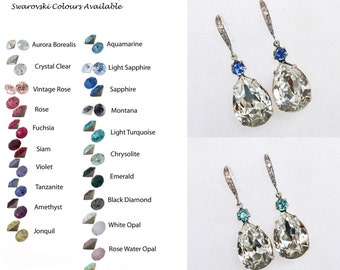 Choose Your Accent Colour -- Handmade Swarovski Clear & Accent Colour Teardrop Dangle Bridal Earrings, Bridal, Wedding (Sparkle-2306)