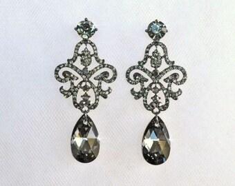 LAST ONE Black Diamond & Swarovski Silver Night Chandelier Crystal Rhinestone Special Occasion Earrings (Sparkle-2497)