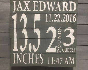 Baby Measurements Wooden Painted Pallet Sign