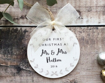 Personalised Our First Christmas as Mr & Mrs bauble silver glitter