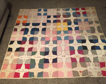 Antique Hand made Queen size Quilt 1919