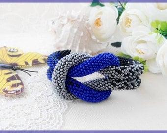Christmas gift for her Woman beaded bracelet Blue roll bracelet Statement boho jewelry Rope grey bracelet Women day gift