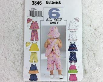 Butterick 3846 Sewing Pattern Infants' Top, Shorts, Pants and Hat Size NB-M  / six sew easy / toddler clothing / baby clothes / children