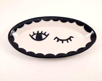 EYE C U WINK eyeglass dish //Small scallop black and white plate//jewelry plate