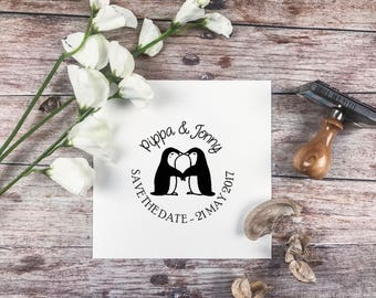 WEDDING STAMP,Love, Penguins Save the Date wedding stamp, wedding stationery, rubber stamp