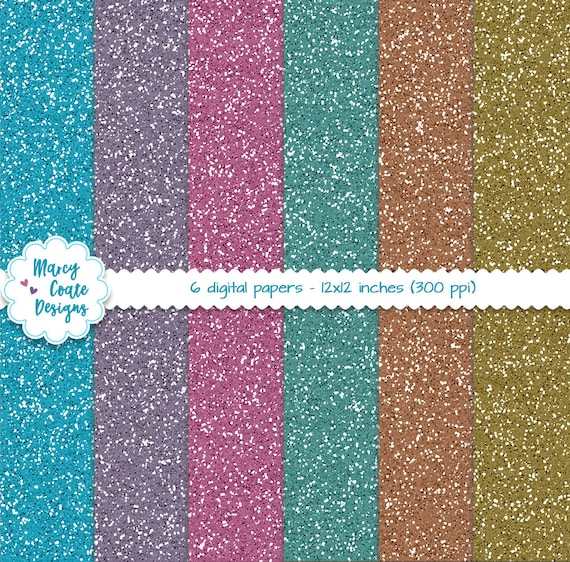 Glitter Papers Jewel Tones, blue, teal, pink, purple, copper, gold, digital papers commercial use OK for planners, stickers, scrapbooking