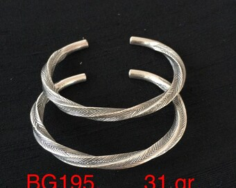 Karen Hill Tribe Silver Twisted Bangle Bracelet -Sterling Silver Bracelet - Silver Bracelet Men