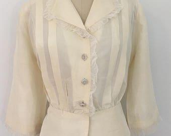 Vintage 1940s 1950s Buttermilk taffeta/silk bolero jacket/blouse