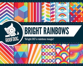Rainbow digital paper | bright rainbow scrapbooking background | 1980s rainbow | disco rainbow pattern | cute bright rainbow pride rainbow