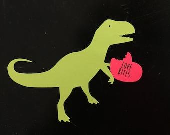 T-Rex Valentine - Set of 10, Kids Valentine Card, Valentines Cards, T-Rex Valentine Cards, Love Bites Valentines, School Valentines