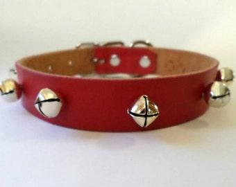 Christmas dog collar / leather dog collar / holiday dog collar / red leather dog collar / collar with bells / red and silver