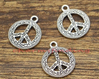20pcs Peace Sign Charms Peace Symbol 2 Sided Charms Antique Silver Tone 16x20mm cf1364