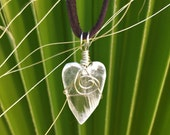 Dainty Selenite Heart Pendant ~ Hand carved Selenite from New Mexico