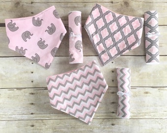 Newborn Girl Gift Set, Pink Baby Shower Gift, Pink Bandana Bibs, Pink Burp Cloths, Pink and Grey Nursery, Pink and Grey Baby Shower