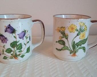 Pair of Vintage Floral Hearthside Buffet Ware Mugs, Made in Japan, Vintage Coffee Mugs, Floral Coffee Mugs, Vintage Dishes, Vintage Garden
