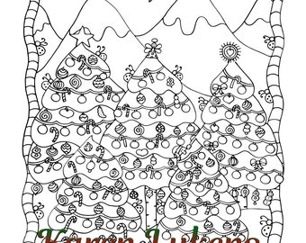 Christmas Pack #2, 5 Adult Coloring Book Pages, Printable Instant Download, Karen Lukens