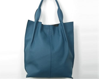 Leather Tote Bag, Leather Shopper Bag, Large Handbag, Large Tote Bag,  Shoulder Bag, Handmade Tote, Gift For Her, Blue Leather Tote