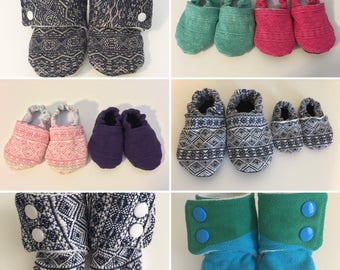 MADE TO ORDER custom Didymos wrap scrap soft sole baby slippers/shoes. Many wrap options!