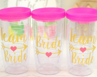Team Bride Cups , Bachelorette Party, Wedding Tumbler,  Bridesmaid Gift, Bachelorette Favors, Team Bride Tumblers, Bachelorette Tumblers