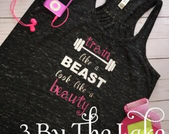 "Women's ""Tran like a beast, look like a beauty"" exercise tank top"