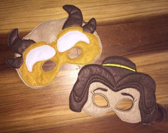 Beauty and the Beast inspired embroidery felt masks