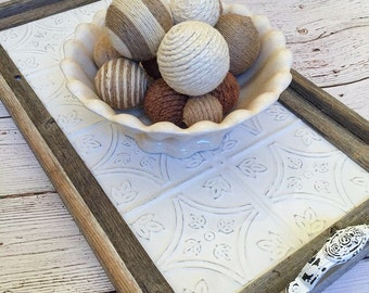 Vintage Style Serving Tray With Handles - Barnwood Decor, Ceiling Tin, Rustic, Farmhouse Tray, Decorative Tray, Wood Tray (Art Deco Design)