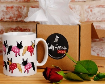 French Bulldog Mug. Frenchie Valentines Day Gift, Love French Bulldog Girlfriend mug and coaster set. Gift for her. French Bulldog wife gift