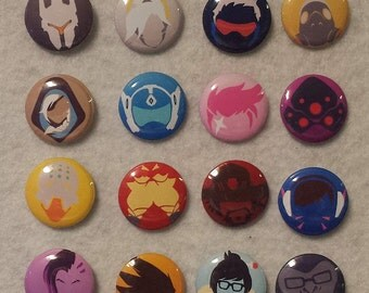 Overwatch buttons, icon buttons, pinback buttons, overwatch characters