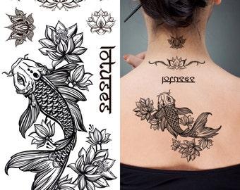 Supperb Temporary Tattoos - Fish & Lotus