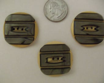 Lot of 3 Matching Art Deco Celluloid Buttons