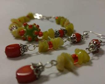Beaded  Earrings and a Bracelet Set