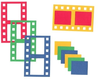6 Film Strip Die Cut Movie, Theator, Picture, Scrapbooking, Paper Piecing, Party, Page, Collage