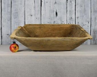 Antique wooden dough bowl / Primitive dough bowl / Rustic wooden dough bowl / Antique cookware / Hand carved bowl / Farmhouse chic decor