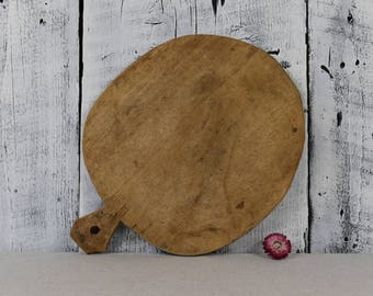 Antique rustic cutting board with food chopper / Bread board / Chopping board / Vintage wooden chopping board / Rustic kitchen decor