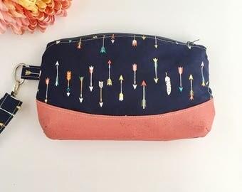 Arrow purse, arrow print,arrow wallet, travel clutch, custom clutch, coral clutch, coral purse, coral bag, blue clutch, cork leather clutch