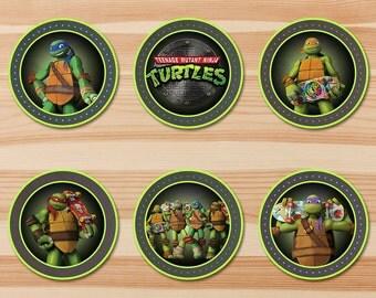 Teenage Mutant Ninja Turtles Cupcake Topper - Green Chalkboard - Ninja Turtles Sticker - Ninja Turtles Party - Ninja Turtles Party Printable