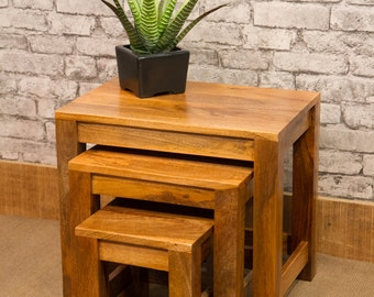 Nest of 3 occasional tables made from solid natural Mango wood - Marli range MAR-126