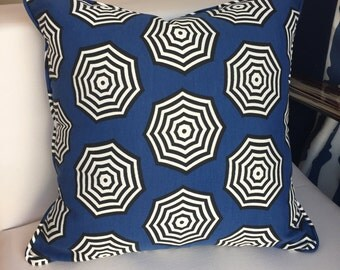 Decorative Pillows, Navy & White Outdoor Pillow with Umbrella Pattern, 18x18, insert included