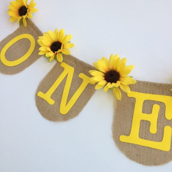 Items Similar To One Banner Sunflower First Baby Shower